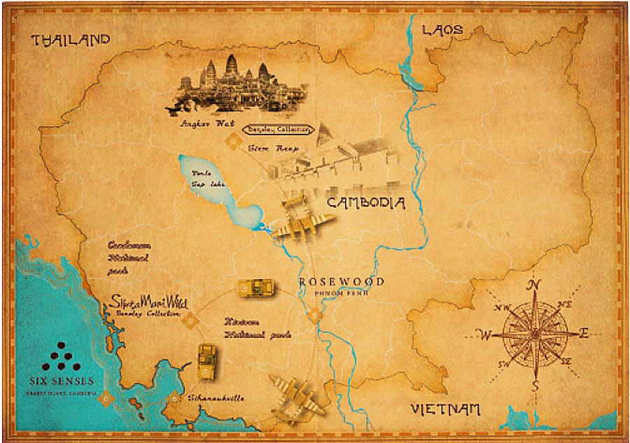 Kambodscha alte Landkarte